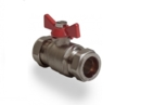 BUTTERFLY BALL VALVE RED 22mm