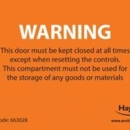 LABEL WARNING Keep Door Closed pack of 10