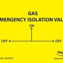 Label GAS EMERGENCY ISOLATION pack of 10