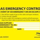 Label Gas Emergency Control pack of 10